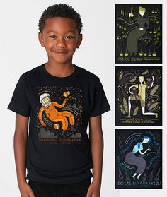 Celebrate women in science with all four of these T-shirt! These women have all contributed so much in their fields of science. A great way to