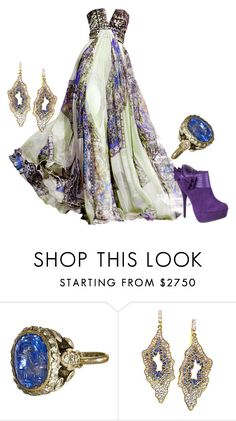 """""""Untitled #3233"""" by roseunspindle ❤ liked on Polyvore featuring Zuhair Murad, Lauren Harper Collection, purple, gown and ethnic"""