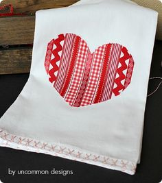 Ribbon Heart Valentine Tea Towel {Anthropologie knock off}
