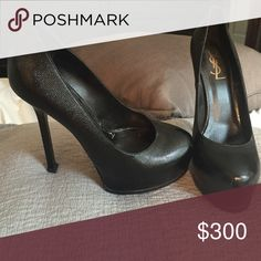 YSL Yves Saint Laurent TribToo Black Heels 8 EUC Yves Saint Lauren YSL Tribute Too TribToo platform Black Leather High Heels in size 38 (8) Only worn a handful of times! Excellent condition - only minor wear is on sole of shoe. Please see all pics for details! Yves Saint Laurent Shoes Heels