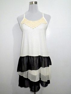 SALE! black and white layered dress by VintageHomage on Etsy, $10.00