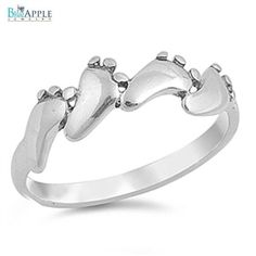 6mm Continues Baby foot Toe Band Solid 925 Sterling Simple Plain Band Ring Cute Baby Foot Steps Jewelry Gift