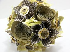 Yellow and Gold Steampunk Kusudama Paper Flower by HandMadeOrigaMe, $43.00