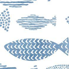 Blue Wallaper, Removable Wallpaper, Beach Wall Decor, Cabin Wallpaper, Blue and White Wallpaper, Animal Wallpaper, Peel and Stick Wallpaper