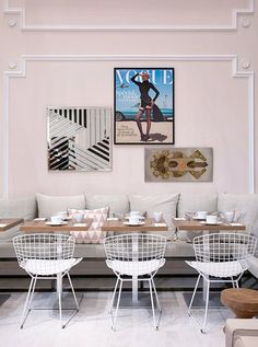 art in the dining space // built in bench // soft pink. This is crazy but it could work in a house!