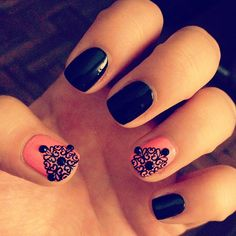 LOVE the black with the coral nail polish! #nailart