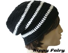 Black slouchy beanie with thin white stripes 952997151a38