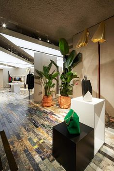 Celine London Mount Street Store. We love the use of color blocking, natural elements like plants and the detail in the tiled floor.