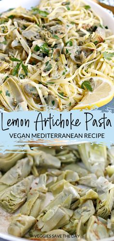 Vegan Lemon Artichoke Pasta is quick and easy to make with frozen artichoke hearts and a few simple ingredients. It's a great recipe to have in your back pocket when you don't know what to make for dinner. Vegan Artichoke Recipes, Vegetarian Pasta Recipes, Pasta Dinner Recipes, Vegan Dinner Recipes, Vegan Dinners, Vegan Recipes Easy, Veggie Recipes, Lunch Recipes, Whole Food Recipes