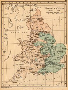 1644 England And Wales Political Map Britain