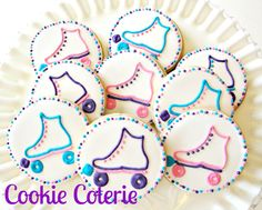 Roller Skate Birthday Party Decorated Cookie by CookieCoterie, $26.00