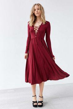 Ecote Lace-Up Midi Dress $79