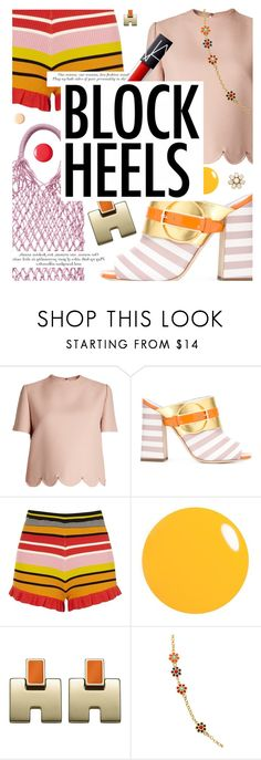 """""""Step Up: Block Heels"""" by cultofsharon ❤ liked on Polyvore featuring Valentino, H&M, Pollini, River Island, Of Rare Origin and Kate Spade"""