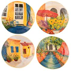 VIETRI Village Views Assorted Dessert Plates. Made of terra bianca and handpainted in Tuscany. $46 #handpainted #tuscany #plates www.theitaliandish.com