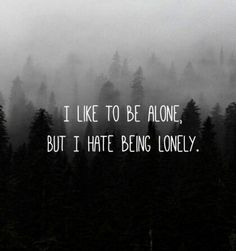 i like to be alone but i hate being lonely