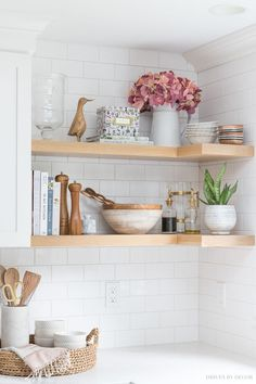 Five Favorite Fall Essentials Faux hydrangeas that look real! Love them in a pitcher on this open kitchen shelving!Faux hydrangeas that look real! Love them in a pitcher on this open kitchen shelving! Home Decor Kitchen, Interior Design Kitchen, Home Kitchens, Kitchen Furniture, Farmhouse Interior, Modern Farmhouse, Rustic Kitchens, Kitchen Paint, Apartment Kitchen