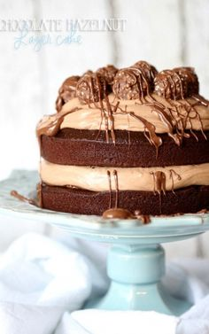 Chocolate Hazelnut Layer Cake. Love it when a cake is as pretty as it is delicious! Starts with a one bowl chocolate cake!