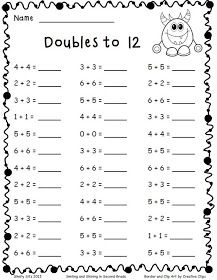 math-Adding Doubles and a Freebie - Smiling and Shining in Second Grade 2nd Grade Math Worksheets, Free Math Worksheets, Grade 1 Maths, Addition Worksheets First Grade, 2nd Grade Activities, Number Worksheets, Teacher Worksheets, Free Activities, Printable Worksheets