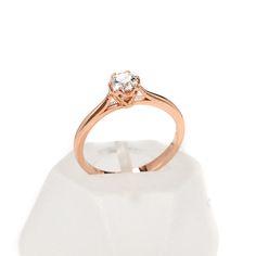 Μονόπετρο δαχτυλίδι Al'oro  Κ18 ροζ χρυσό  διαμάντι 1497