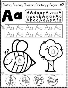 Spanish, Color, Search, Trace, Cut and Paste Worksheets Bilingual kinder activities for Bilingual learning centers. Dual Language alphabet activities for Bilingual Literacy centers. Preschool Spanish, Spanish Activities, Alphabet Activities, Color Activities, Literacy Activities, Literacy Centers, Alphabet Worksheets, Learning Centers, Learning Spanish