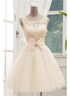 USD$101.04 - Timeless Sleeveless Lace Cocktail Dress Bowknot Tulle Short Prom Gowns - www.27dress.com