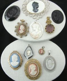 Vintage CAMEO Lot Shell & Costume Gold Filled MOP Glass Goldette Pin Brooch Pendant by jewelryannie on Etsy