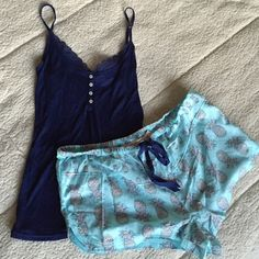 VS Sleep Set Navy lace trim camisole size:S. Pineapple print teal shorts size:M. Both are new, never worn with the tags! Victoria's Secret Intimates & Sleepwear Pajamas