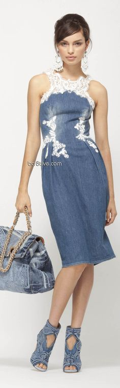 Ermanno Scervino Pre Collection 2013 ~ Super cute denim dress (I think this would be easy to copy, using upcycled denim dress and wedding lace, possibly from thrift store wedding dress.)