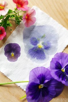 Hammered Floral Print Fabric - one of ten summer DIY projects from Wonder Forest Fabric Painting, Fabric Art, Fabric Crafts, Paper Crafts, Watercolor On Fabric, Art Floral, Floral Prints, Real Flowers, Diy Flowers