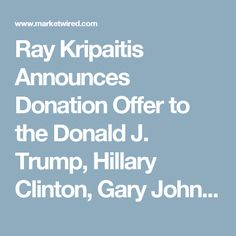 Ray Kripaitis Announces Donation Offer to the Donald J. Trump, Hillary Clinton, Gary Johnson, and Jill Stein Presidential Election Campaigns -- Seychelle Environment Technologies, Inc. 28oz High pH Balance Sports Water Bottles