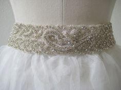 Bridal beaded rhinestone wedding sash/belt