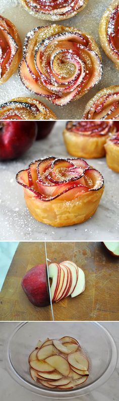 Delicious Apple Rosettes Dessert Will Leave Your Guests Begging For More Apple tart roses.used pie crust instead of puff pastry. Took a while to bake but very yummy served with vanilla bean ice cream and homemade salted caramel Just Desserts, Delicious Desserts, Yummy Food, Delicious Cupcakes, Apple Desserts, Apple Recipes, Sweet Recipes, Desert Recipes, Love Food