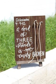 "Wooden "" A Cord of Three Strands "" Sign - Rustic Chic Wedding Decor -  Bible Verse Sign"