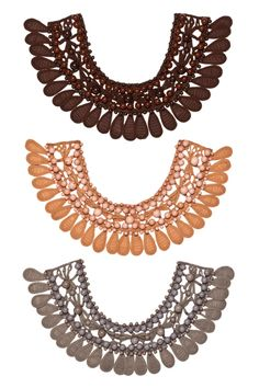 $690.00 Heavy necking: Marni is known for its inventive statement-making jewelry, and these silk, hand-embroidered bib necklaces with beading ($690; at Bergdorf Goodman stores) are no exception.