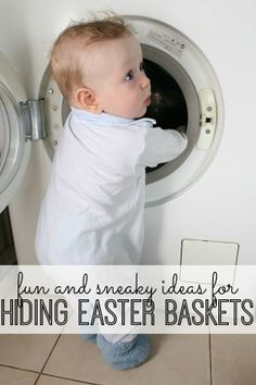 Fun and sneaky ideas for hiding Easter baskets. Love these ideas!