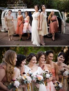 All different vintage wedding dresses for the bridesmaids.  I'm in love.