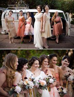 Mismatched bridesmaids dresses in a peach/cream/saffron color palette