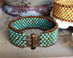 Peyote Stitch ceco bracciale  bracciale di perline turchese