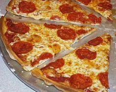 Thin Cracker-Crust Pizza Recipe--similar to Pizza Hut thin crust!