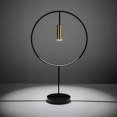 LED circular black and brass modern table lamp Table Lamps For Bedroom, Bedside Table Lamps, Room Lamp, Bedroom Lighting, Custom Lighting, Cool Lighting, Modern Lighting, Lighting Stores, Industrial Lighting