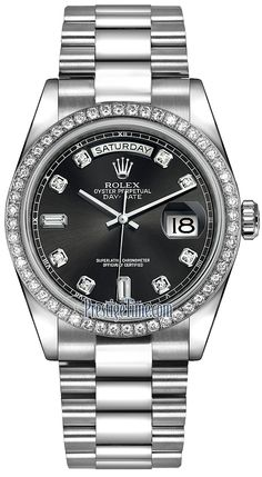 Rolex Day-Date 36mm Platinum Diamond Bezel 118346 Black Diamond President