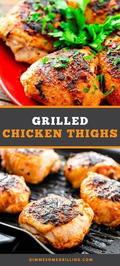 Tender, juicy perfectly grilled Chicken Thighs! They have a simple rub on them that give them the best flavor. They are a quick and easy dinner perfect for summer. #chicken #thighs