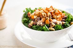 Red beans and rice and greens topped with sweet potato croutons and vegan Comeback Sauce a Mississippi dressing that adds a Southern drawl to anything Kale Recipes, Whole Food Recipes, Vegan Recipes, Comeback Sauce, Fat Free Vegan, Healthy Munchies, Vegan Kitchen, Salad Dressing Recipes, Vegane Rezepte