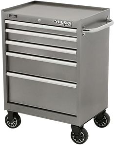 27 In. 5 Drawer Tool Cabinet, Metallic Silver #RollingToolCabinet