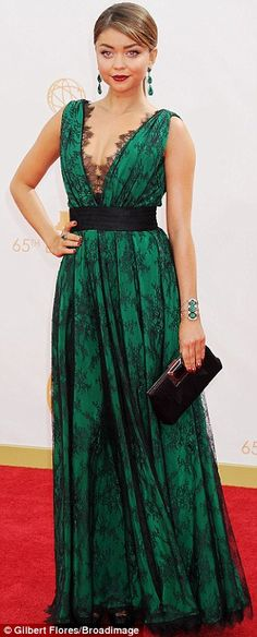 Green goddesses: Sarah Hyland Anna Chumsky and Nancy ODell all plumped for floor length green gowns - Green Dresses - Ideas of Green Dresses Green Lace Dresses, Emerald Green Dresses, Green Gown, Red Carpet Dresses, Nice Dresses, Sarah Hyland, Pastel Gown, Knit Dress, Dress Up