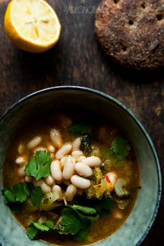 Lemon and bean soup with harissa Soup Recipes, Healthy Recipes, Healthy Meals, New Menu, Bean Soup, Chana Masala, Nom Nom, Good Food, Spices