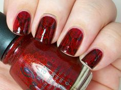 Painted Nubbs: China Glaze Ruby Pumps and Winstonia W-04