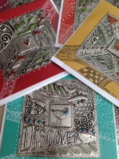 Pewter squares on cards- Elitia Hart Metal Art - www.pewterart.ca