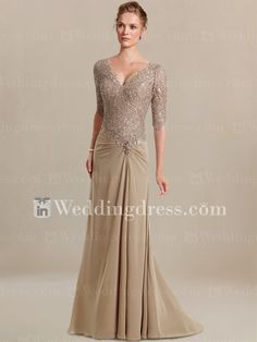 Elegant Mother of the Bride Dress with Sleeves. Re-pin if you like. Via Inweddingdress.com #motherbridedress
