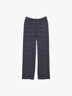 pantalon sail bleu marine en ottoman à rayures | agnès b. Ottoman, Bleu Marine, Pajama Pants, Pajamas, Collection, Fashion, Stripes, Woman, Pjs